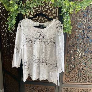 White Crochet Bell Sleeve Top